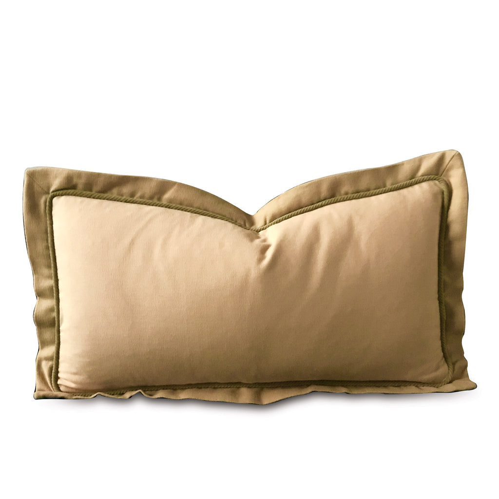 "Matte Tan with Sage Cord Accent Pillow Cover 11"" x 21"""