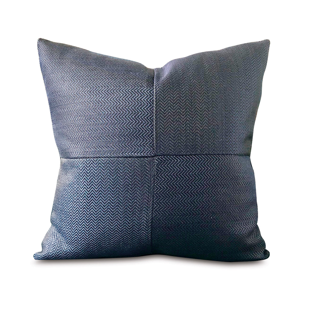 "Denim Blue Geometric Chevron Decorative Pillow Cover 20"" x 20"""