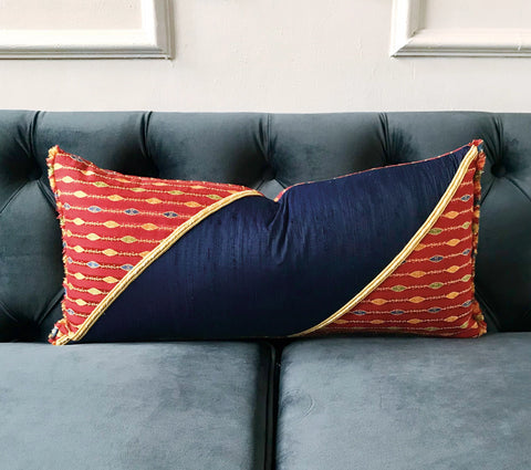 "Mediterranean Inspired Lumbar Pillow Cover 11"" x 21"""