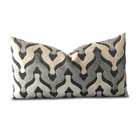 "11"" x 21"" Velour Wishbone Waves in Stone Decorative Pillow Cover"
