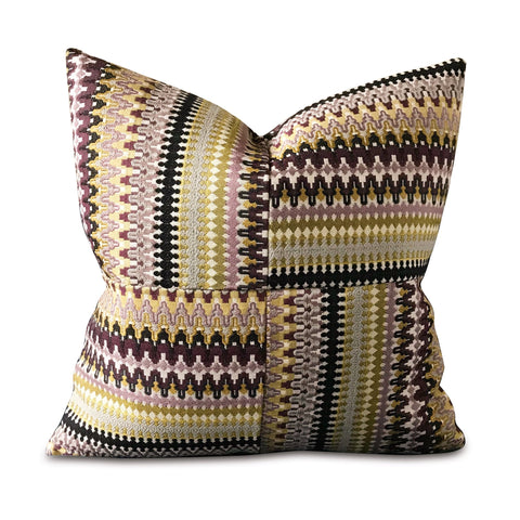 "20"" x 20"" Geometric Embroidered Squares Decorative Pillow Cover in Purple"