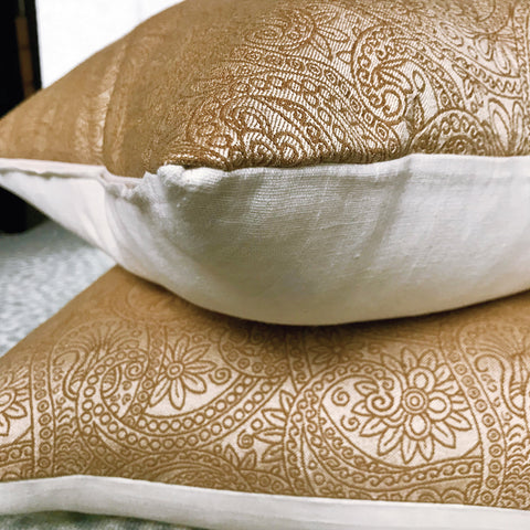 "Vogue Paisley Decorative Pillow Cover in Bronze 20"" x 20"""
