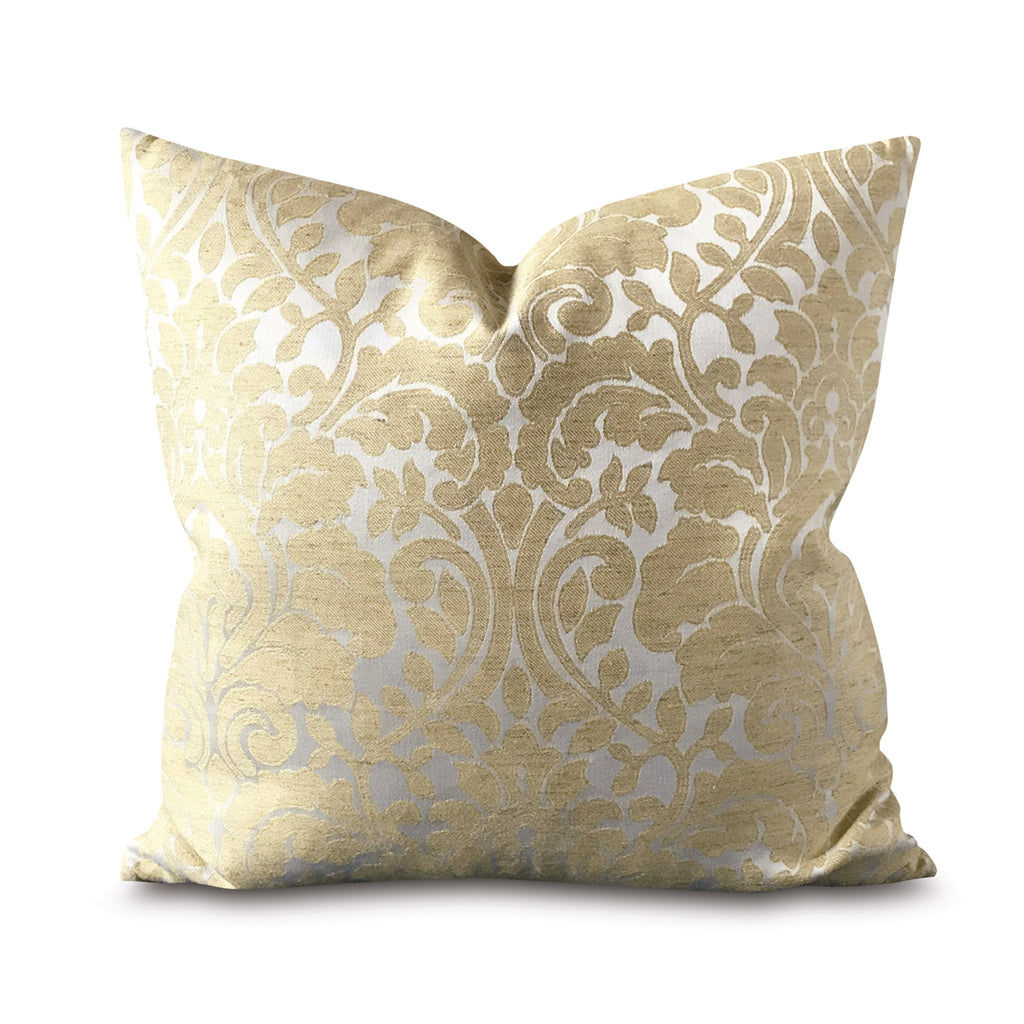 "Yellow Gold Damask Decorative Pillow Cover 20"" x 20"""