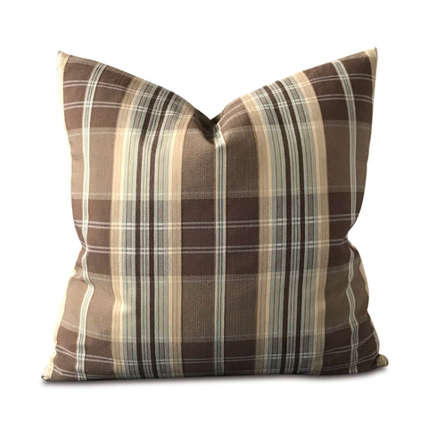 "Brown and Blue Menswear Plaid Pillow Cover 20"" x 20"""