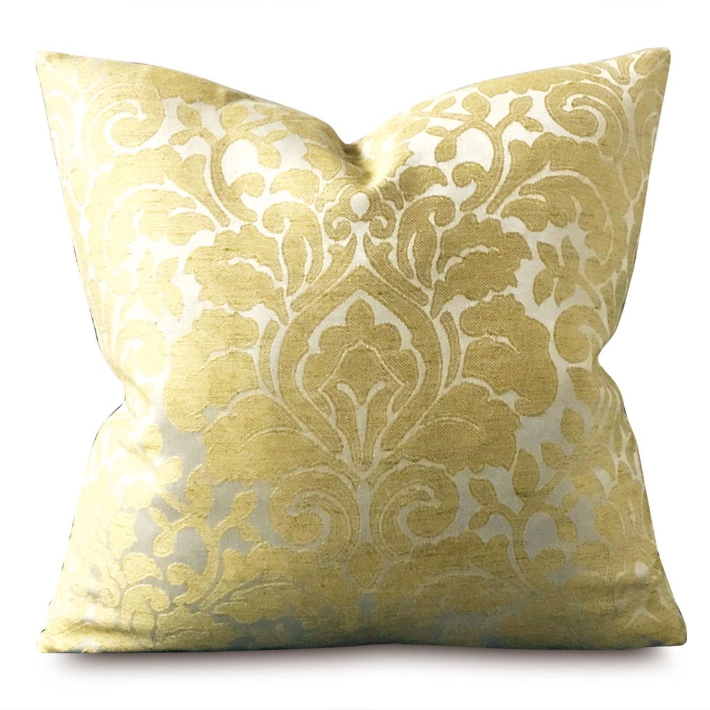"Metallic Golden Sheen Traditional Damask Pillow Cover 18"" x 18"""
