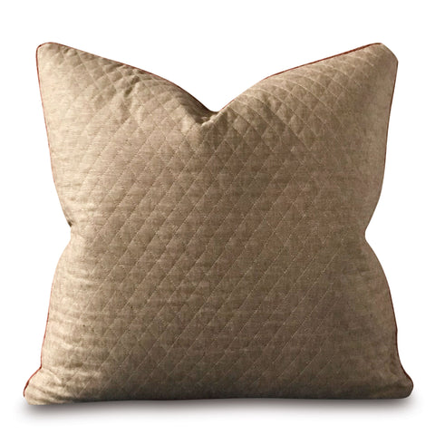 "22"" x 22"" Light Brown Top-stitch Quilted Pillow Cover"