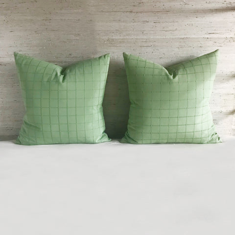 "Mint Green Masculine Check Pillow Cover 24"" x 24"""