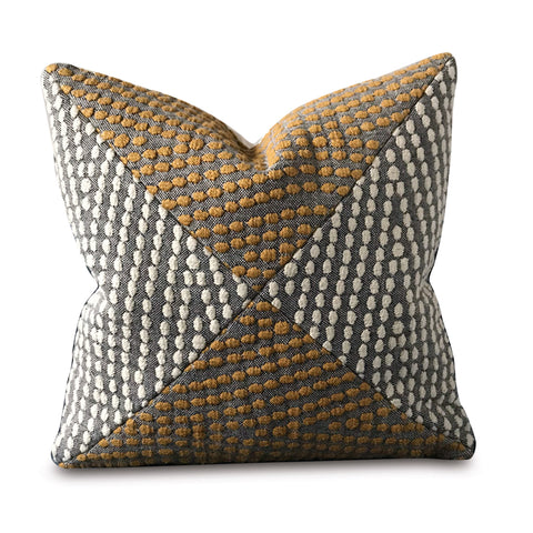 "Embossed Weave Textured Geometric Pillow Cover in Mustard 20"" x 20"""