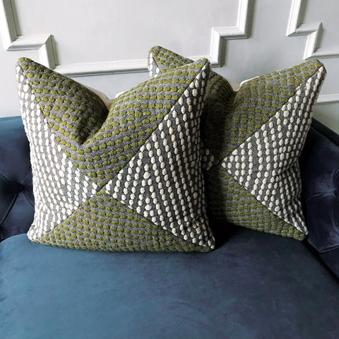 "Embossed Weave Textured Geometric Pillow Cover in Green 20"" x 20"""