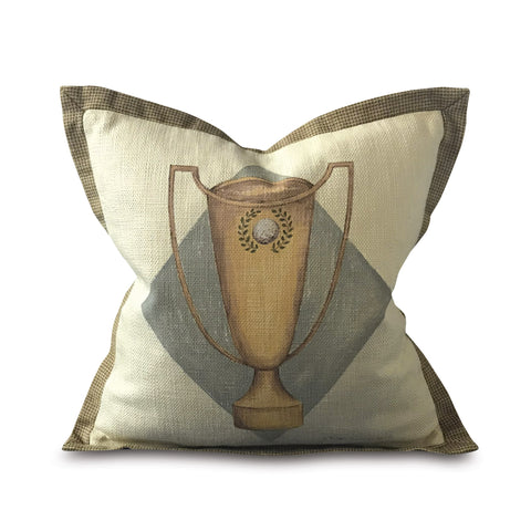 "Winning Mate Hand Painted Trophy Pillow Cover 16"" x 16"""