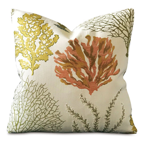 "16"" x 16"" Coral Sea life Decorative Pillow Cover"
