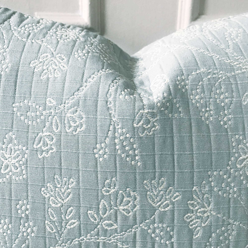 "Pastel Blue Embroidered Floral Decorative Pillow Cover 22"" x 22"""