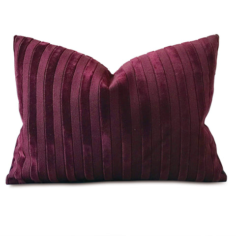 "Velvet Stripe Boudoir Pillow Cover in Merlot 16"" x 22"""