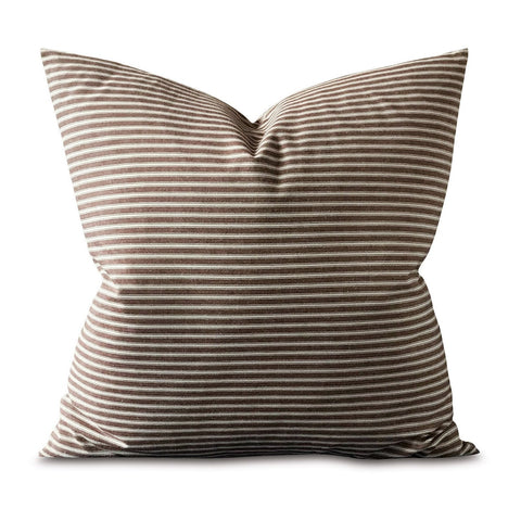 "22"" x 22"" Clean Line Brown Pinstripe Decorative Pillow Cover"