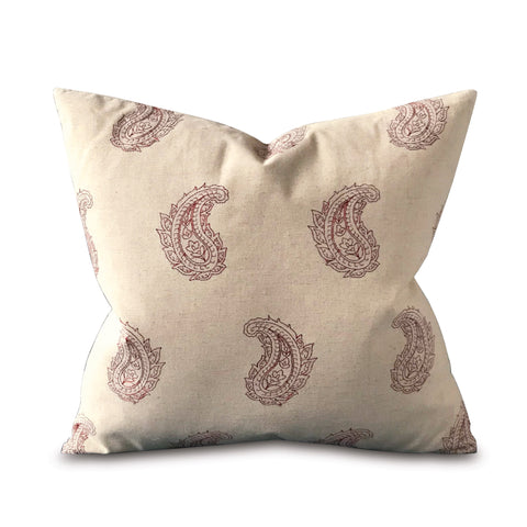 "20"" x 20"" Stitched Paisley Leaf Decorative Pillow Cover"