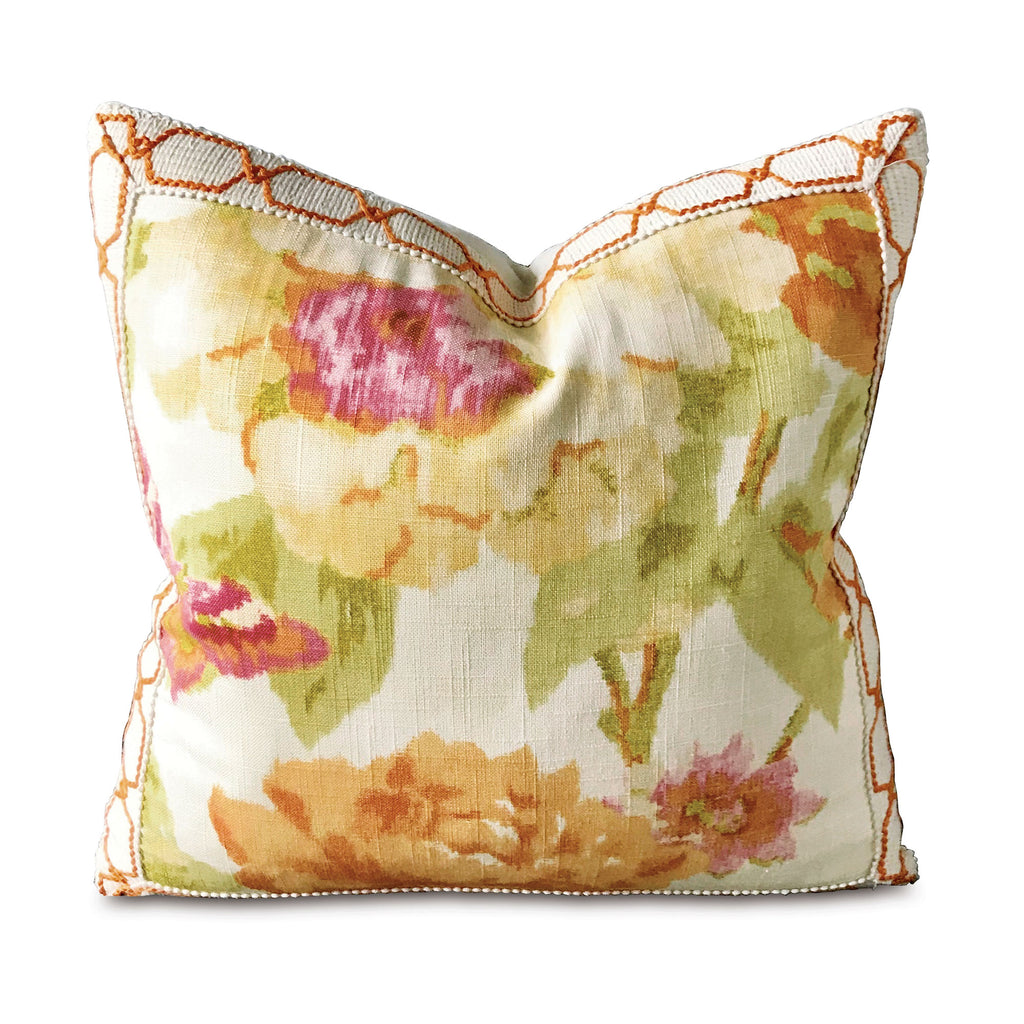 "Caroline Azalea Woven Trim Decorative Pillow Cover 18"" x 18"""