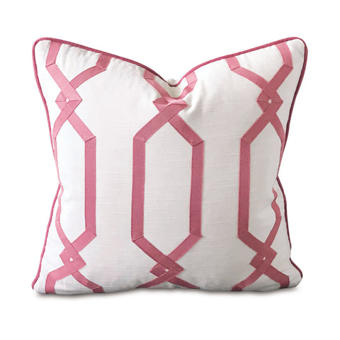 "Pink Trellis Square Decorative Pillow Cover 16"" x 16"""