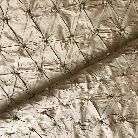 Gold Dobby Dot Pleated Indian Silk Fabric - 42""