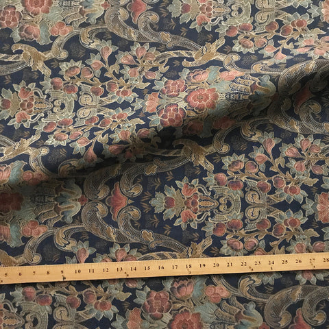Indigo Modern Floral Jacquard Upholstery Fabric 54""