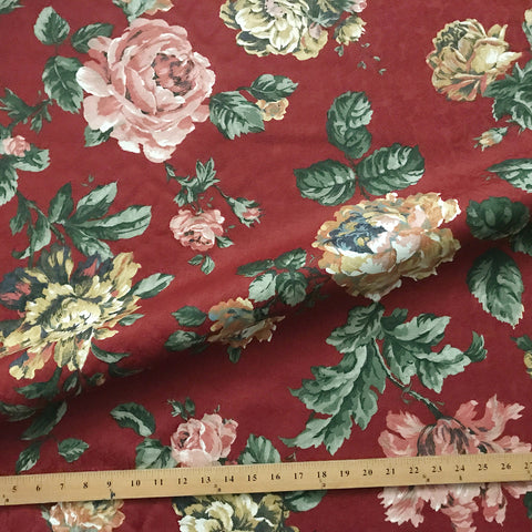 Scarlet Traditional Floral Jacquard Upholstery Fabric 54""