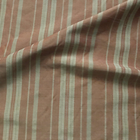 Brown Country Stripe 100% Pure Linen Fabric 54""