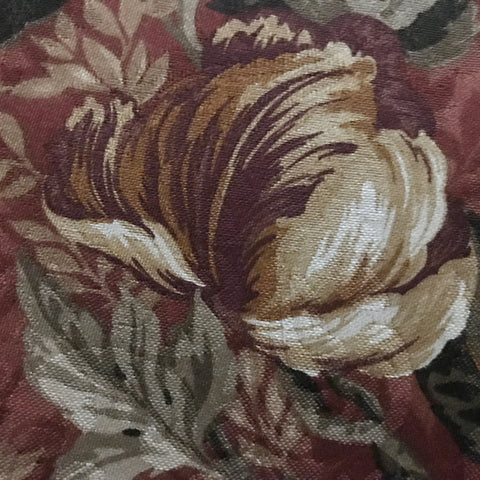Burgundy Contemporary Floral Printed Cotton Upholstery Fabric 54""
