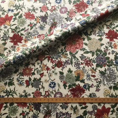 Multicolored Traditional Floral Printed Cotton Upholstery Fabric 54""