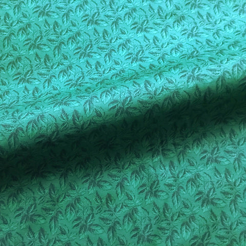 Emerald Green Bohemian Botanical Leaf Print Woven Upholstery Fabric 43""