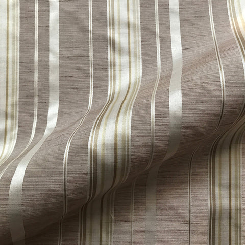 Taupe Contemporary Stripe Linen Upholstery Fabric 54""