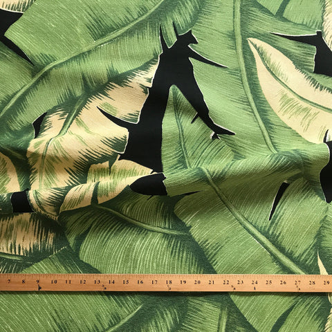 Emerald Green Tropical Palm Leaf Cotton Print Upholstery Fabric 54""