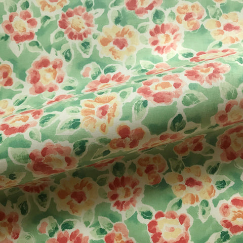 Chartreuse Girls Floral Cotton Upholstery  Fabric 54""