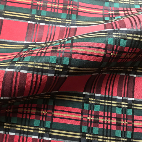 Red Country Vintage Plaid Cotton Upholstery Fabric 42""