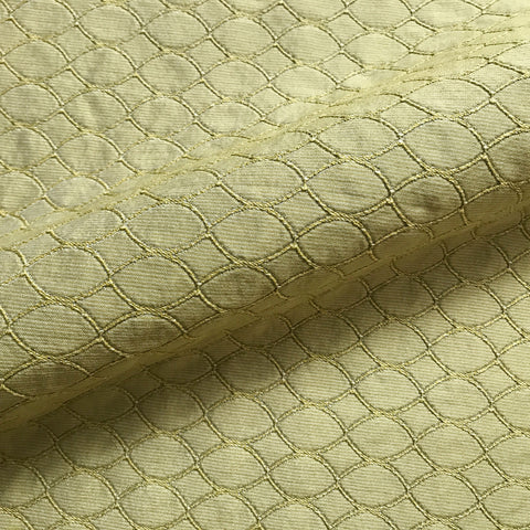 Olive Green Ogee Textured Upholstery Fabric 52""