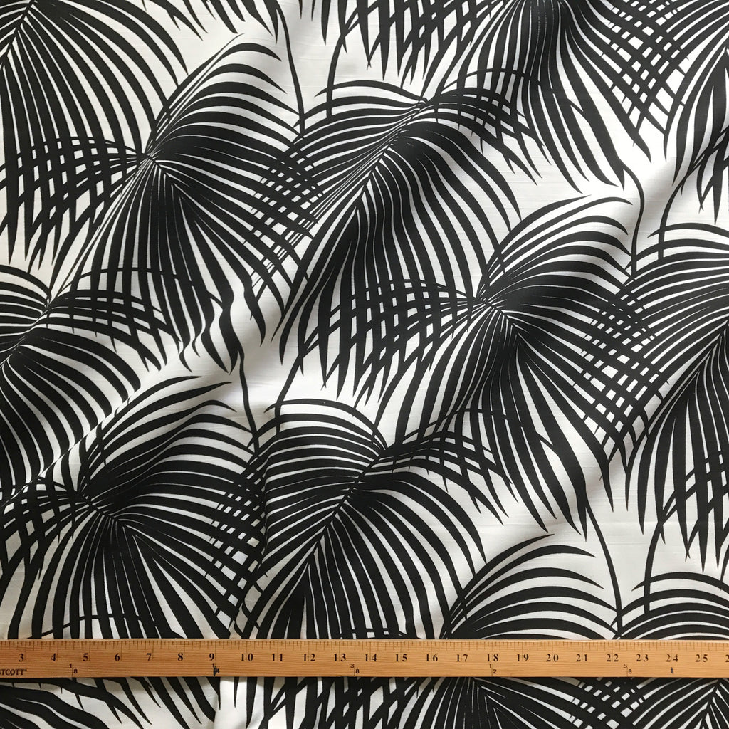 White and Black Tropical Palm Leaf Printed Upholstery Fabric 54""