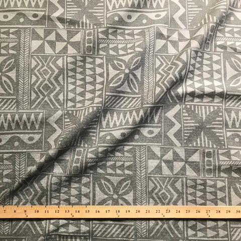Taupe African Tribal Linen Upholstery Fabric 54""