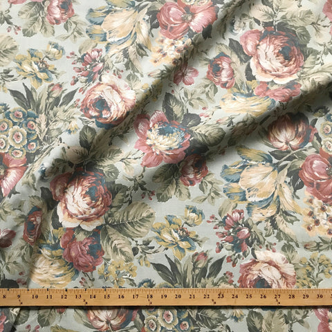 Pastel Traditional Floral Printed Cotton Upholstery Fabric 54""