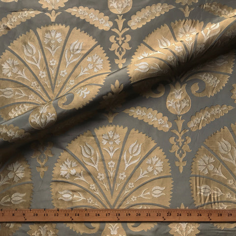 Metallic Gold and Silver French Damask Woven Silk Jacquard Upholstery Fabric 54""