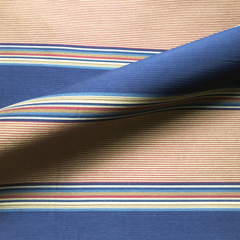 Navy Blue Nautical Stripe Woven Upholstery Fabric 54""