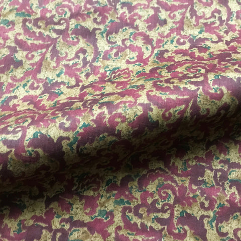 Mauve Traditional Botanical Printed Cotton Upholstery Fabric 54""