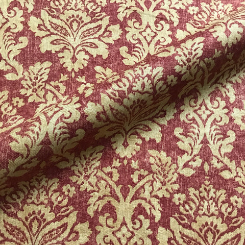 Red and Gold Antique Traditional Damask Upholstery Fabric 53""
