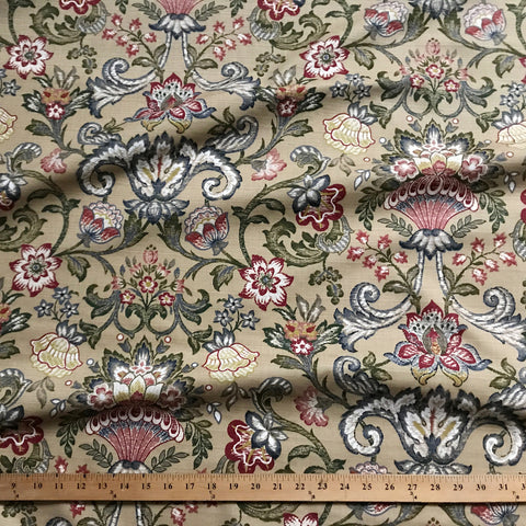 Wheat Traditional Floral Printed Upholstery Fabric 54""