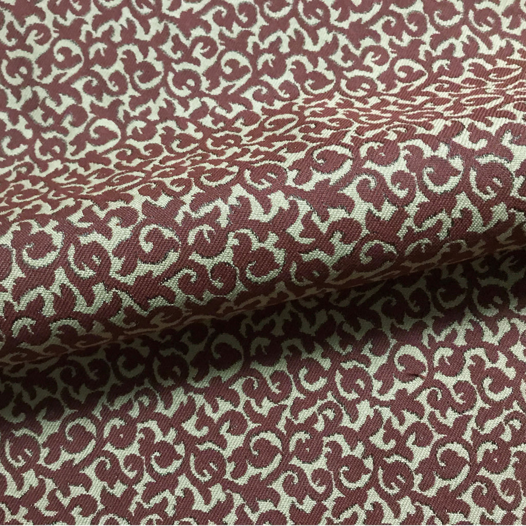 Maroon Traditional Damask Cotton Upholstery Fabric 54""