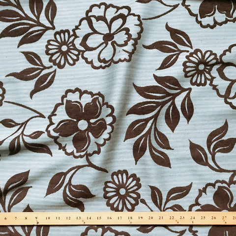 Brown Country Floral Jacquard Upholstery Fabric 58""