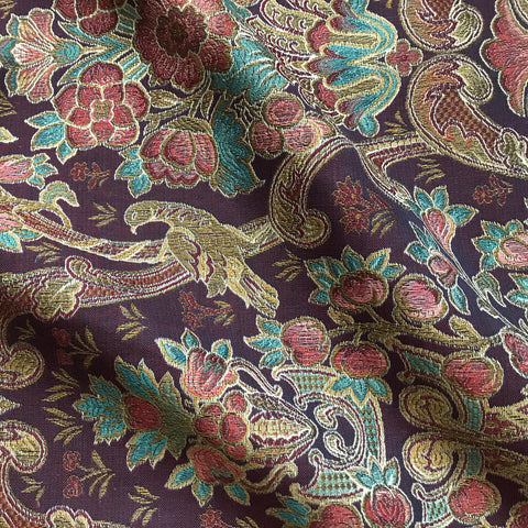 Plum Traditional Floral Jacquard Upholstery Fabric 54""