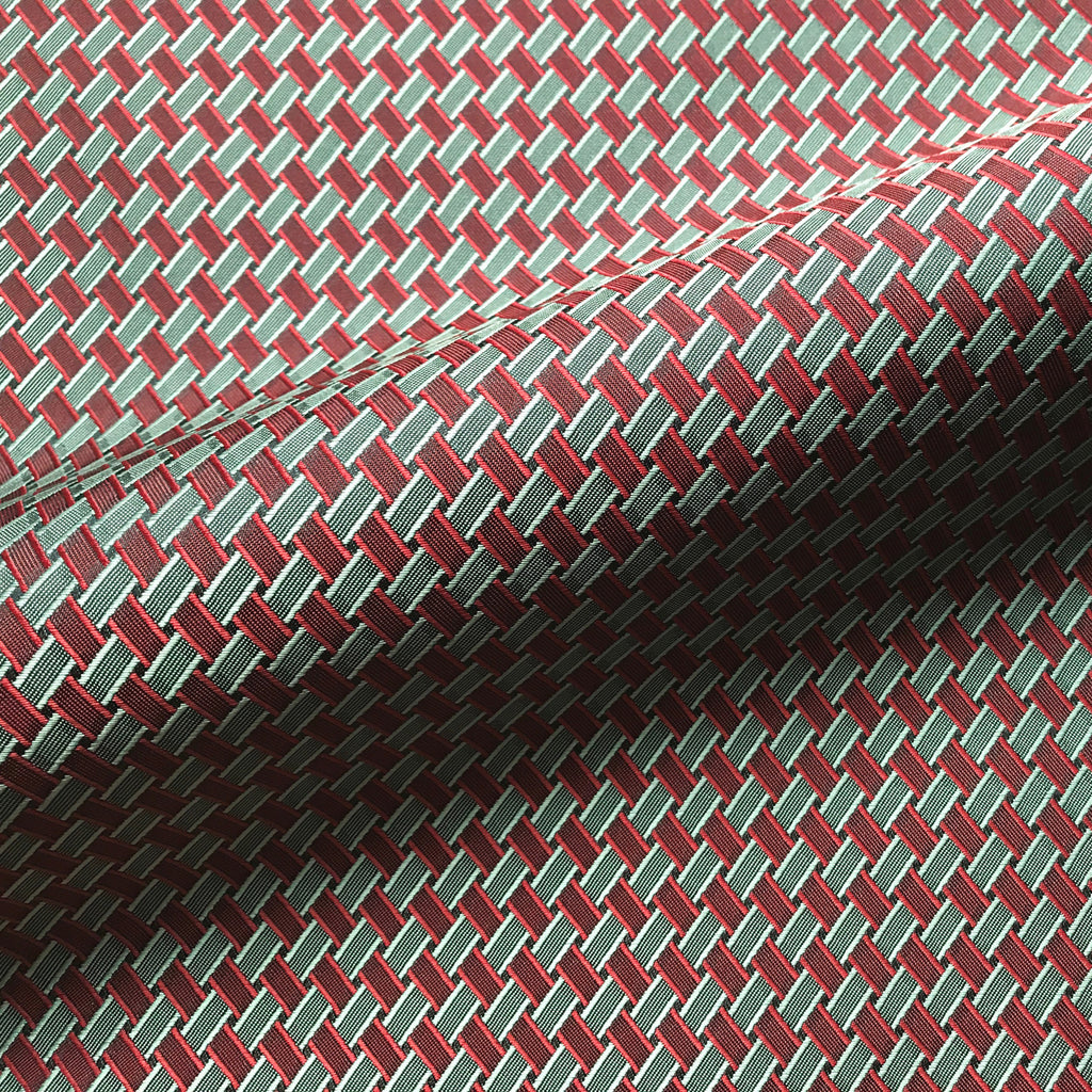 Red and Green Mid Century Style Woven Jacquard Upholstery Fabric 54""