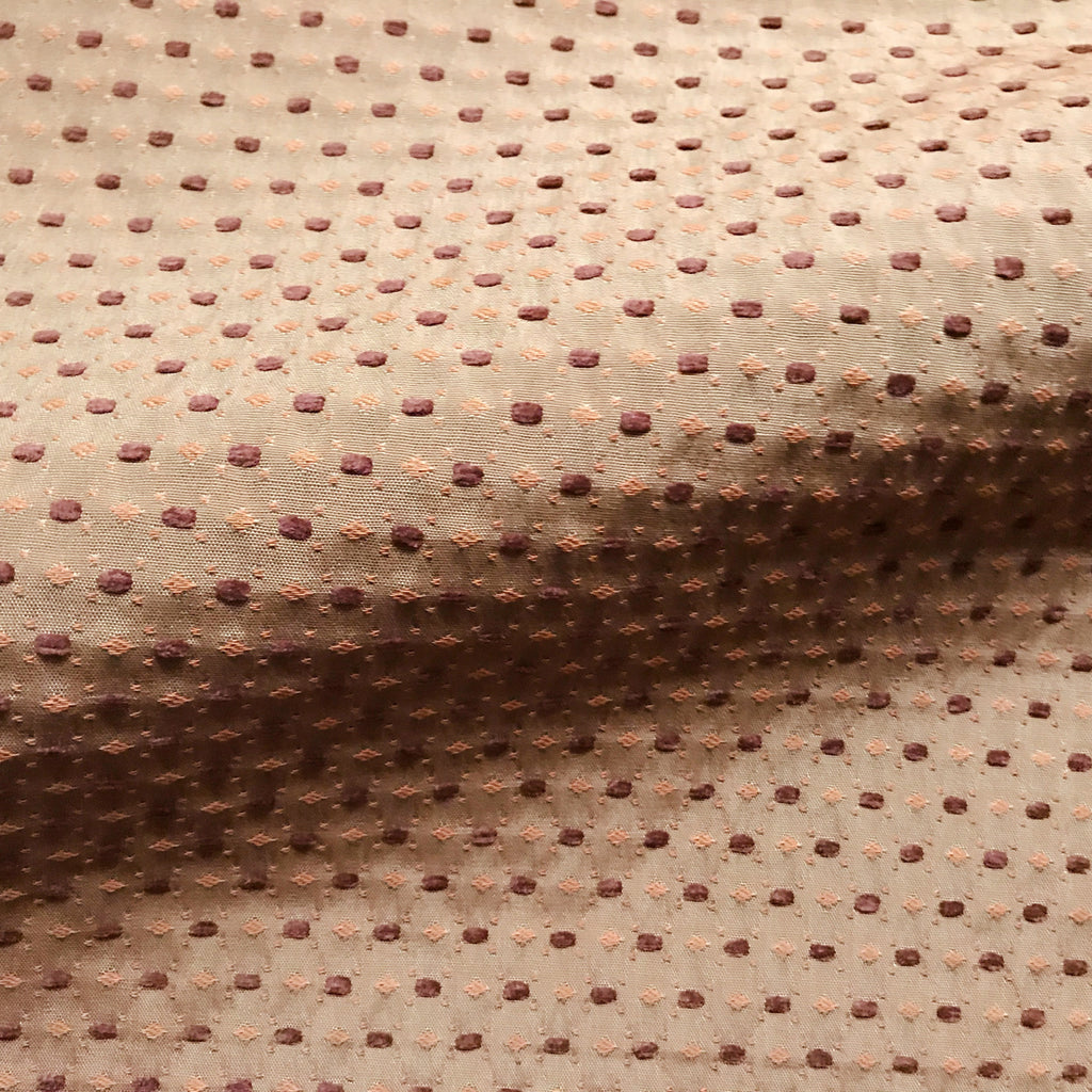 Tan Mid Century Textured Embroidered Upholstery Fabric 60""