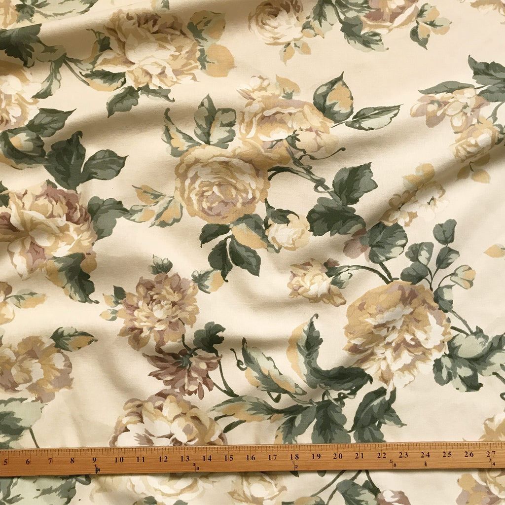 White Rose Traditional Floral Print Upholstery Fabric 54""