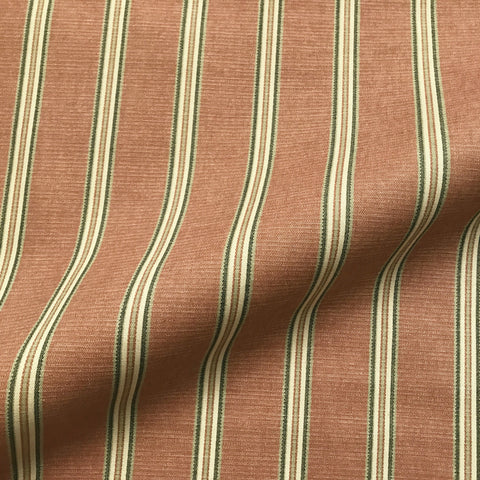 Salmon and Green English Stripe Cotton Upholstery Fabric 54""
