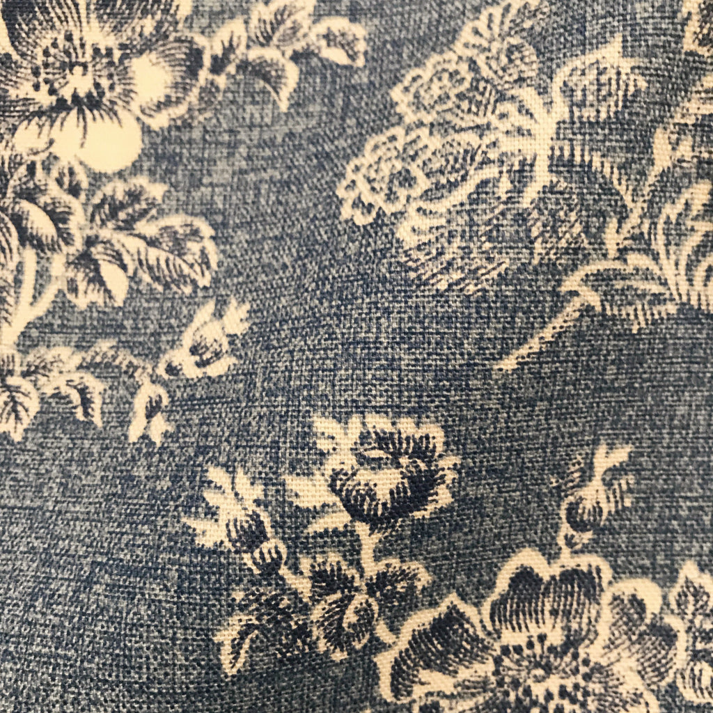 Antique Navy Blue French Country Inspired Beige Floral Print Cotton Up Plankroad Home Outlet