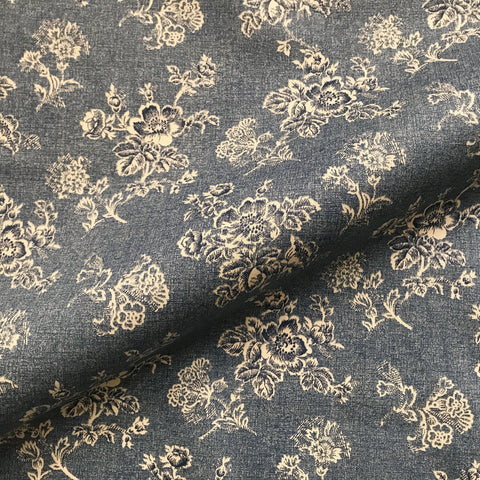 Antique Navy Blue French Country Inspired Beige Floral Print Cotton Upholstery Fabric